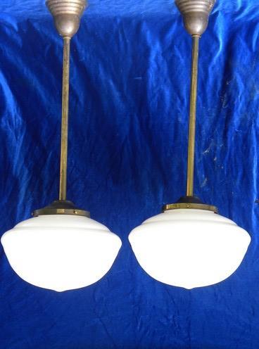 pair antique schoolhouse pendant ceiling lights vintage lighting