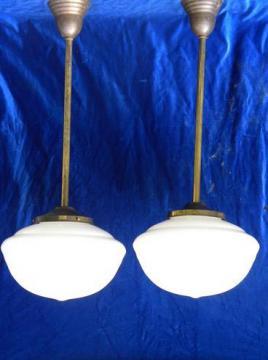 pair antique schoolhouse pendant ceiling lights, vintage lighting