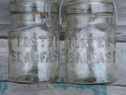 pair antique vintage 1pt Foster Seal Fast canning jars w/wire bails
