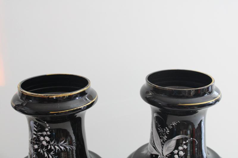 pair antique vintage black amethyst glass vases, hand painted enamel white floral