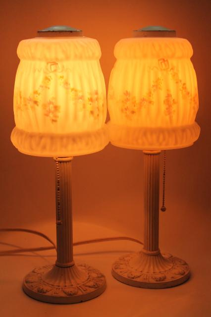 Pair antique vintage cast iron boudoir lamps w painted puffy glass lamp shades