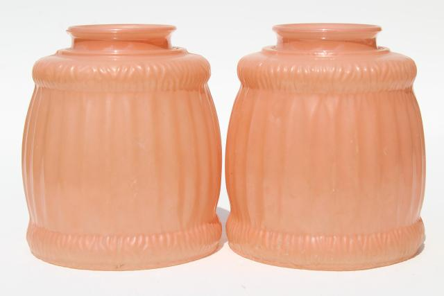 Pair Antique Vintage Glass Light Shades Rose Pink Parlor
