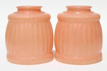 pair antique vintage glass light shades, rose pink parlor boudoir lampshades