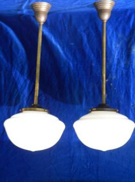 pair antique vintage schoolhouse pendant ceiling lights