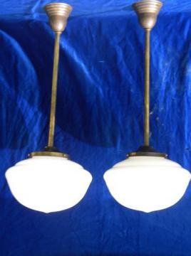 pair antique vintage schoolhouse pendant ceiling lights