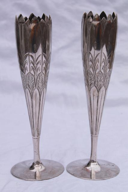 pair art nouveau bud vases, antique vintage silver plate Rogers & Smith New Haven