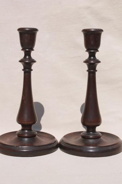 pair early 20th century vintage walnut wood candlesticks w/ lovely old french polish finish