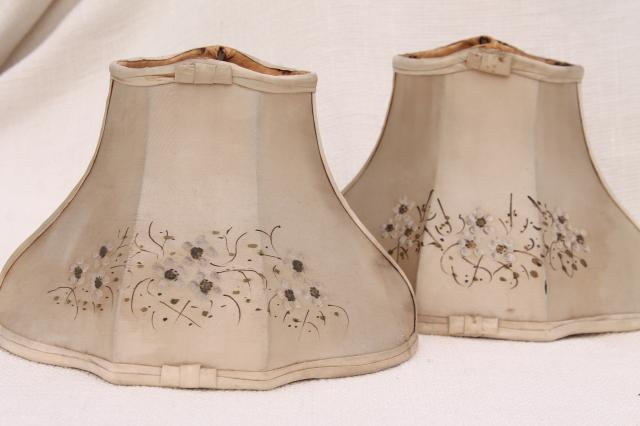 Pair Fancy Old Small Bell Shaped Wire Lampshades In Shabby Original Antique Silk Fabric