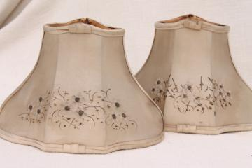 Vintage replacement glass lamp shades pair fancy old small bell shaped wire lampshades in shabby original antique silk fabric aloadofball Choice Image