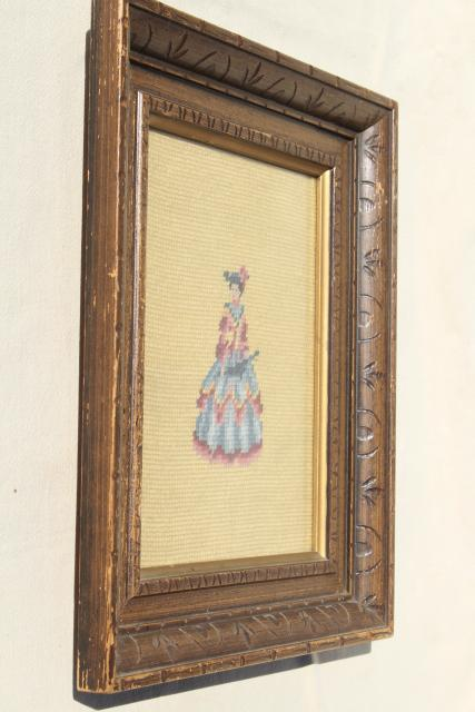 pair framed vintage needlepoint pictures, regency couple portraits lady & gent