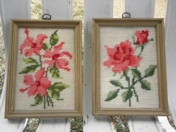 pair framed wool needlepoints, rose floral pictures in wood frames