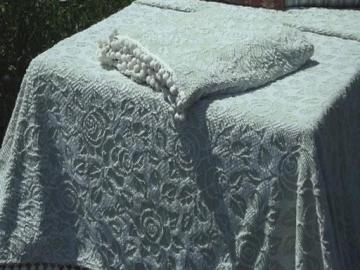 pair green and white roses hobnail candlewick bedspreads w/ popcorn fringe
