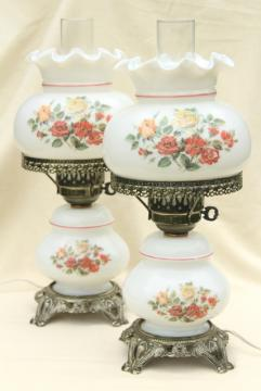 pair hand-painted milk glass chimney shade lamps, vintage Quoziel lamp set
