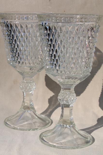 Pair Huge Glass Goblet Vases Diamond Point Pattern Pressed Glass