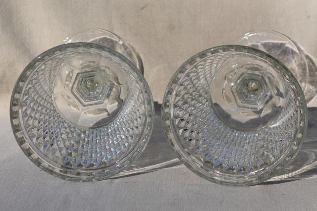 pair huge glass goblet vases, diamond point pattern pressed glass apothecary jar urns
