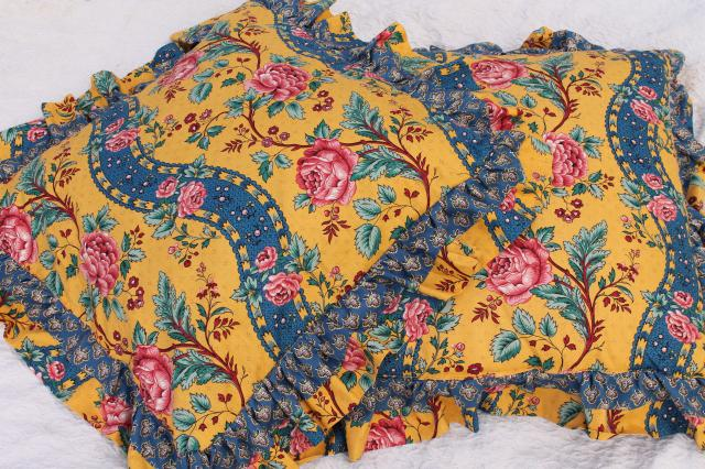 Pair Huge Ruffled Cushions French Country Style Fabric Vintage Pink Roses Mustard Yellow Blue