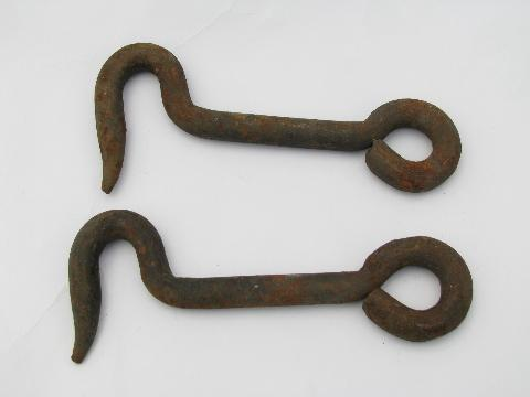 - Pair Large Antique, Hand-forged Iron Barn Or Stable Door Latch Hooks