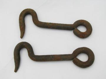 pair large antique, hand-forged iron barn or stable door latch hooks