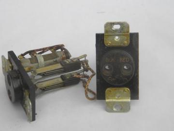 pair large bakelite industrial sockets, steampunk vintage