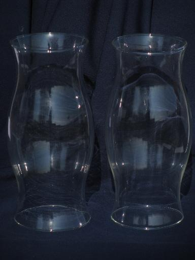 pair large blown glass chimneys, hurricane candle holder shades