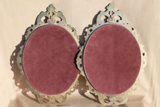 pair large ornate metal picture frames w/ curved convex glass, gleaners prints