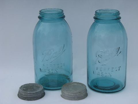 pair large vintage aqua blue glass Ball mason fruit jars w/zinc lids
