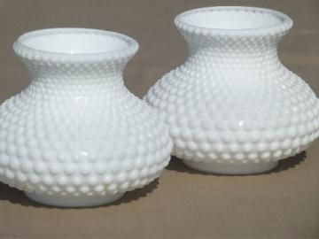 Vintage replacement glass lamp shades pair matching vintage hobnail milk glass lamp shades for student lamp aloadofball Image collections