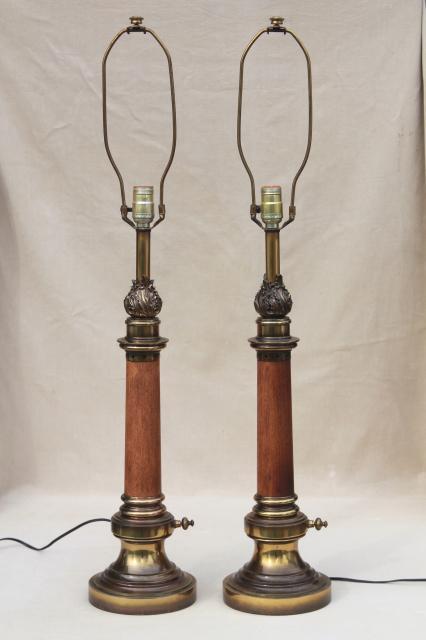 Pair Mid Century Vintage Stiffel Lamps Solid Brass Amp Wood
