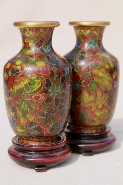 Pair Miniature Chinese Wood Stands W Enameled Brass Vases