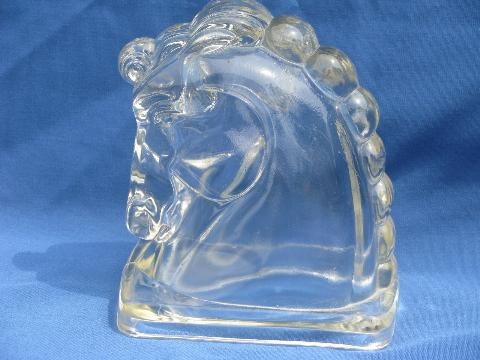 pair mod glass horse bookends, mid-century vintage deco moderne