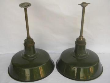 pair of 18'' industrial vintage barn / stable pendant lights w/green & white shades