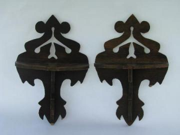 pair of 1930s vintage fretwork wood wall bracket shelves