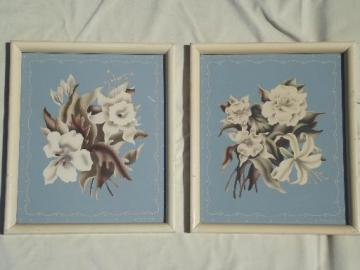 pair of 40s vintage Turner floral prints, shabby cottage flower pictures