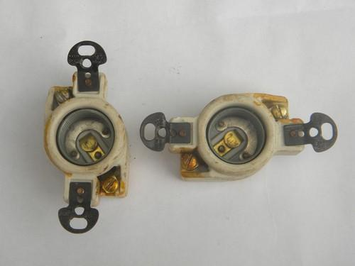 Pair Of Mazda Vintage Ceramic Porcelain Edison Lamp Socket