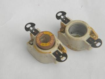 pair of Mazda vintage ceramic porcelain Edison lamp socket or fuse holders