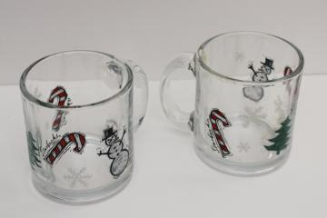 pair of Starbucks glass coffee mugs w/ Christmas tree, snowman, candy canes