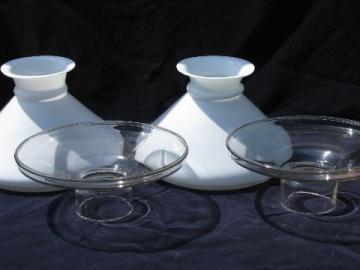 pair of antique Victorian kerosene oil lamp shades, 1877 patent date