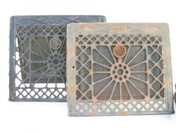 pair of antique adjustable architectural heating register grates vents