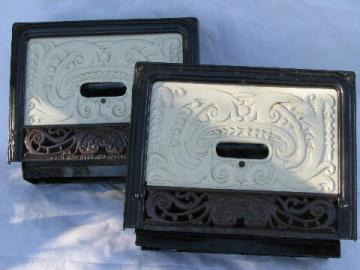 pair of antique architectural heating registers, ornate cast iron grates