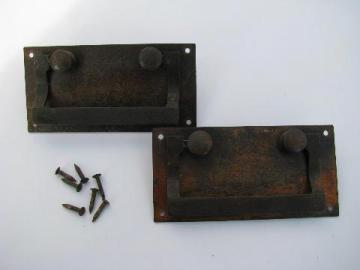 pair of antique art and crafts mission drawer drop handle pulls with hammered nails, vintage hardware