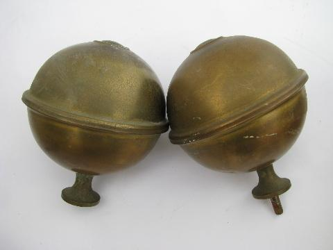 Pair Of Antique Brass Architectural Ball Finials Old