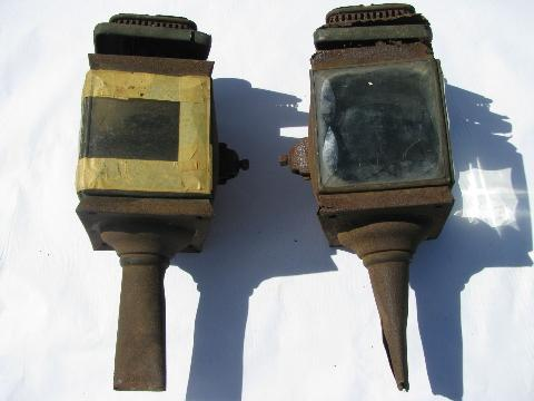 pair of antique carriage lantern lamps for restoration or parts.