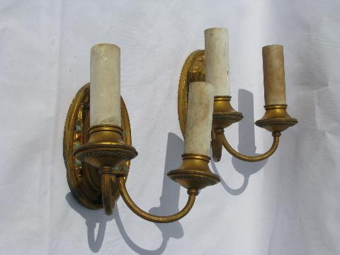 pair of antique electric branched wall sconces, vintage brass sconce lamps