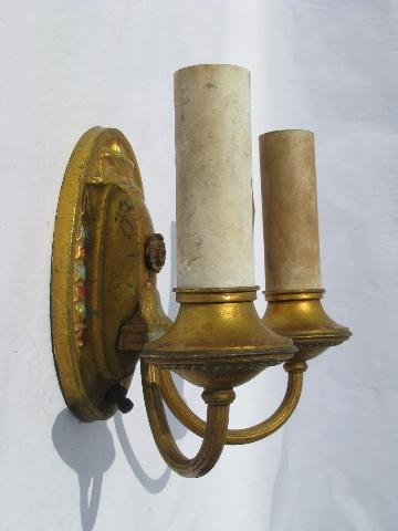 Vintage Brass Electric Wall Sconces : pair of antique electric branched wall sconces, vintage brass sconce lamps