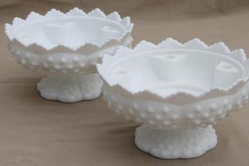 pair of candle / flower bowls, vintage Fenton hobnail milk glass centerpieces