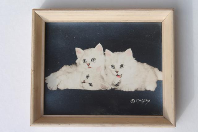 pair of cute kitten pictures, 1940s vintage hand colored photos in miniature wood frames