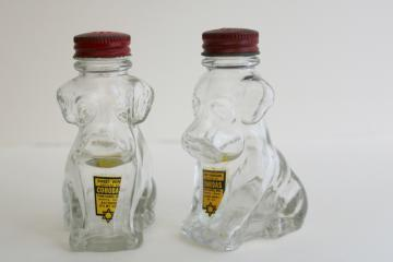 pair of dog shakers figural glass bottles candy container liquor bottle label