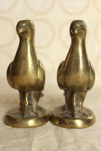 pair of doves, vintage solid brass birds animal figurines, heavy paperweights or bookends