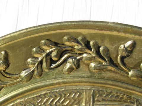 pair of embossed solid brass chargers, hunt scene pattern, vintage England