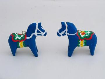 pair of hand painted, Swedish Dala style, folk art wood horses, handmade in Wisconsin
